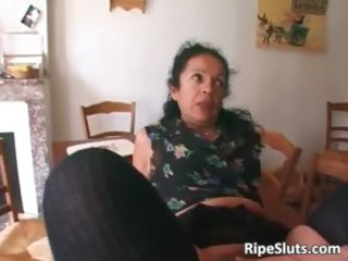 sexually excited older wench double fucked as one