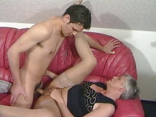 grey haired granny in nylons copulates the chap