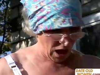 granny gets reamed by youthful stud outdoors