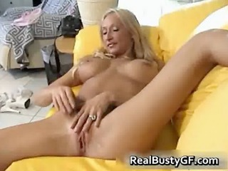 breasty excited mommy plays with her twat