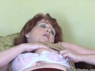 naughty granny has solo sex with sextoy