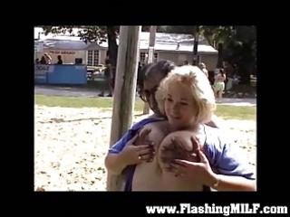 amateur milfs flashing in public