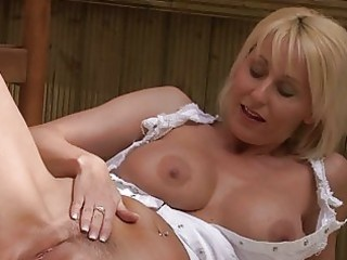 nasty golden-haired momma with large bosom in