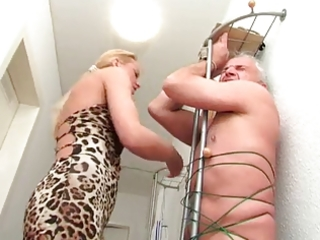 amateur golden-haired aged cook jerking