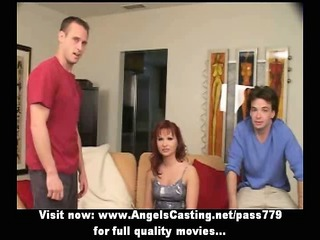 redhead milf as bride does blowjob for large lad