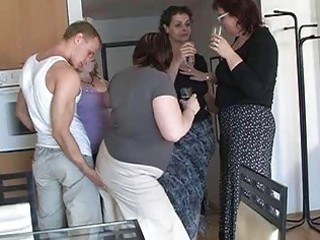 four horny moms enticed cute chap to coll group
