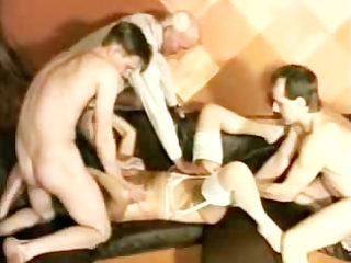 granny takes 4 guys and is fisted