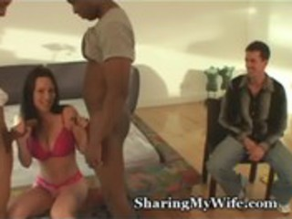 hubby shares hot wife with dark guys
