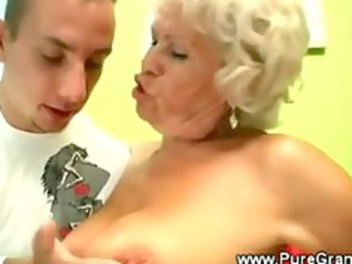 perverted granny blows younger cock