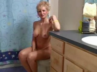aged blonde sex in the bathroom