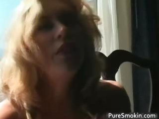 fantastic blonde milf smokes cigarette part5