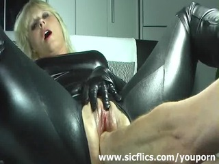 blond wife violently fisted in her loose cum-hole