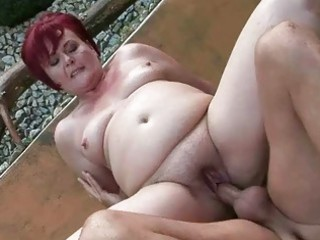chubby grandma receives her twat fucked outdoor