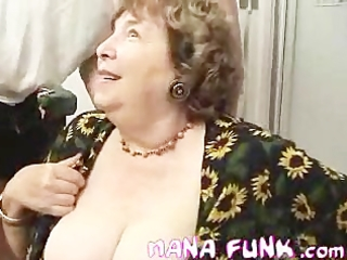 granny blowing white cock