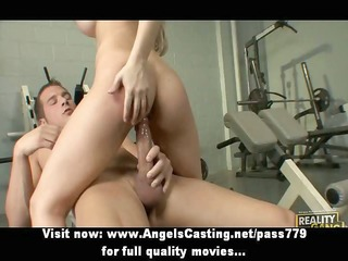sporty blonde does blowjob and titsjob and rides