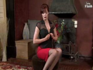 red-haired mature lass in black nylons fingers