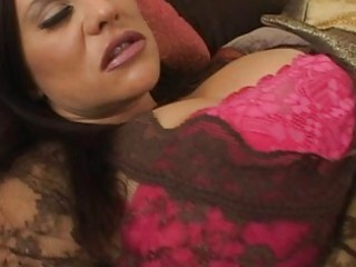 appealing busty brunette wife masturbating her
