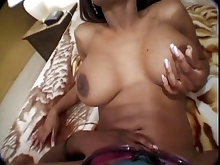 black couple sucking and fucking on the couch