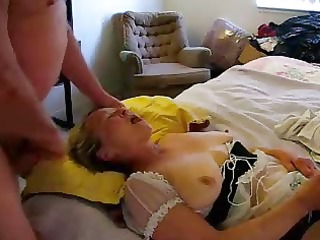 old floozy eating cum during the time that she