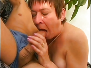chunky granny with the hairy cunt is pleasuring