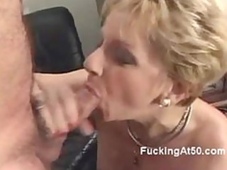 slutty blond granny blows a cock and moans when