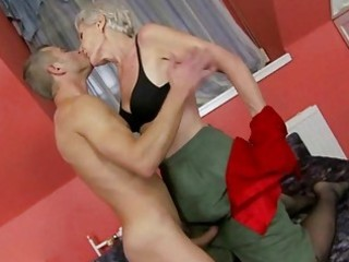 hawt granny enjoys sex with young man