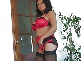 heavy chested dark haired milf in lingerie plays