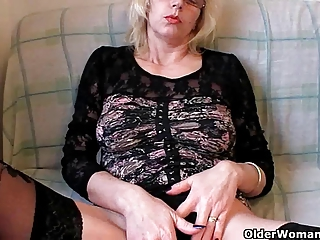 lascivious grandma in nylons fists her hairy cunt