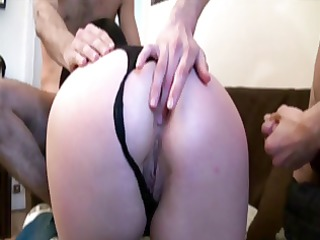 nathalie in nylons receives fucked by 5 boys