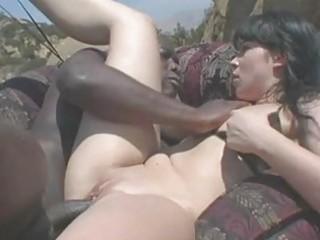 bootylicious dark haired momma in bikini receives