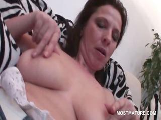 naked aged shoving panties deep inside her