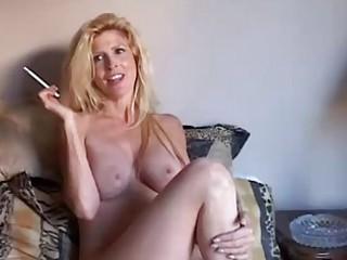 marvelous blonde mother i enjoys a smoke break