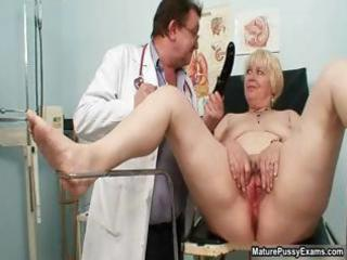 blonde grandma acquires her pussy examed