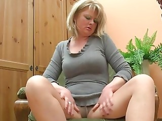 obese aged mama play with her di...