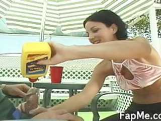 cute gal giving an astonishing cook jerking
