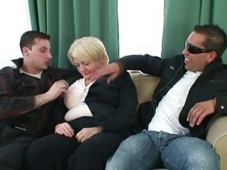 two studs gangbang totally drunk granny