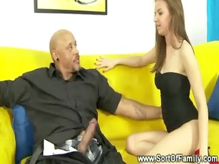 her ebon step dad turns her on and she is has