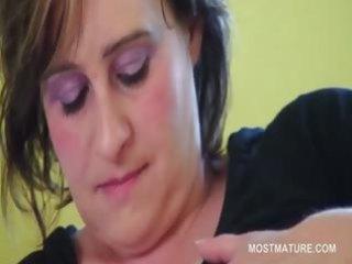 bbw aged slutty babe licking her massive tits in