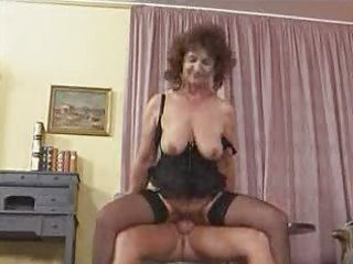 granny in stockings widens for cock